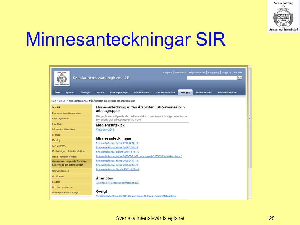 Minnesanteckningar SIR