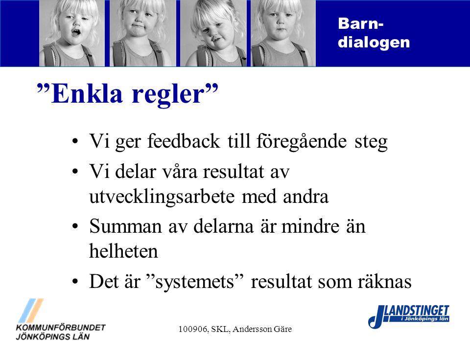Enkla regler Vi ger feedback till föregående steg