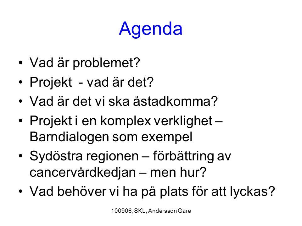 Agenda Vad är problemet Projekt - vad är det