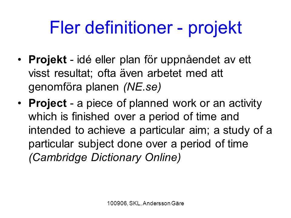Fler definitioner - projekt