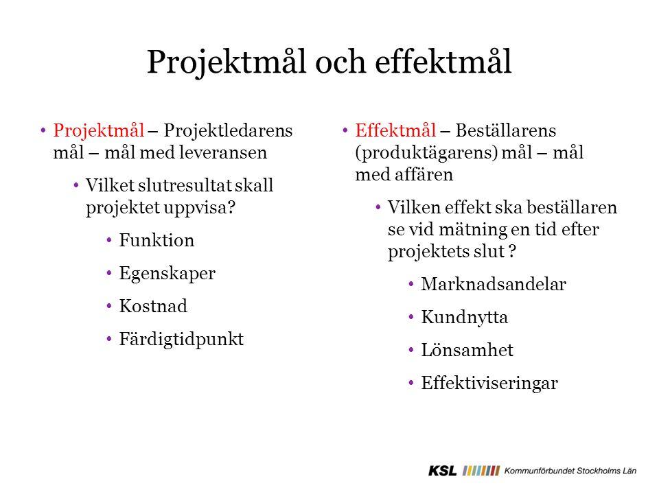 Projektmål och effektmål