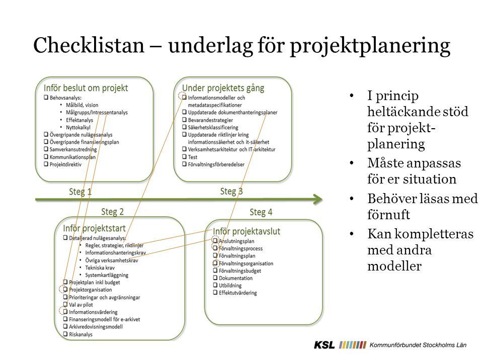 Checklistan – underlag för projektplanering