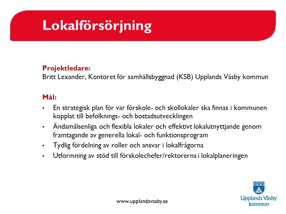 Lokalförsörjning Projektledare: Britt Lexander, Kontoret för samhällsbyggnad (KSB) Upplands Väsby kommun.