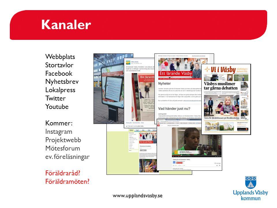 Kanaler Webbplats Stortavlor Facebook Nyhetsbrev Lokalpress Twitter