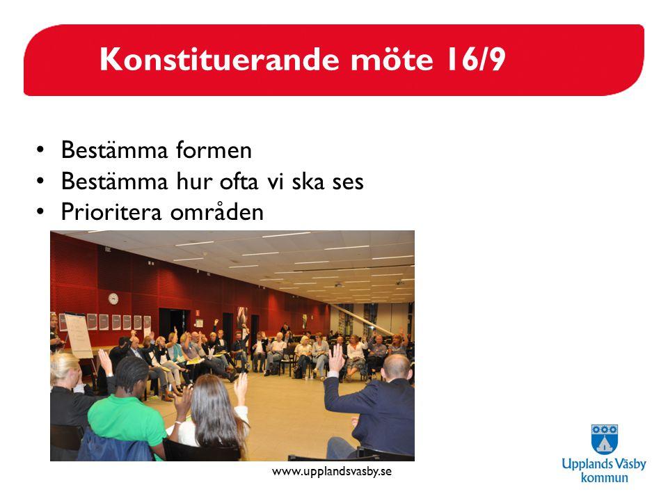 Konstituerande möte 16/9 Bestämma formen Bestämma hur ofta vi ska ses