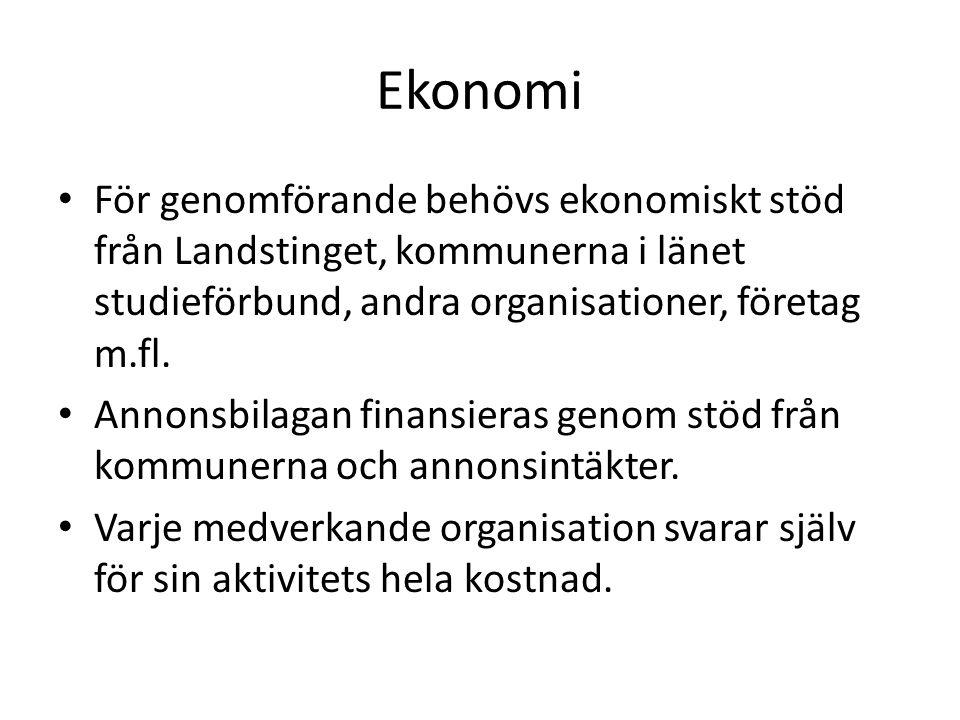 Ekonomi För genomförande behövs ekonomiskt stöd från Landstinget, kommunerna i länet studieförbund, andra organisationer, företag m.fl.