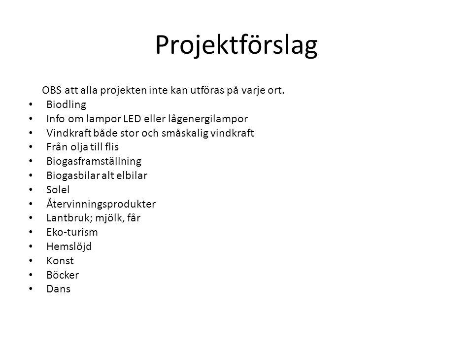 Projektförslag OBS att alla projekten inte kan utföras på varje ort.