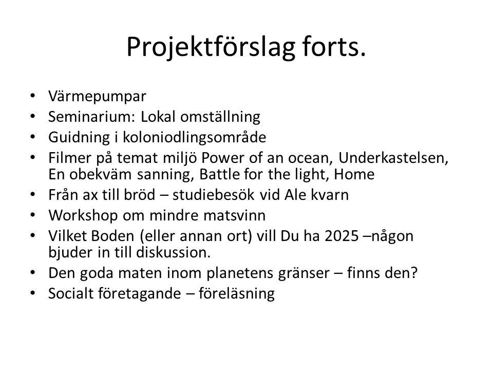 Projektförslag forts. Värmepumpar Seminarium: Lokal omställning