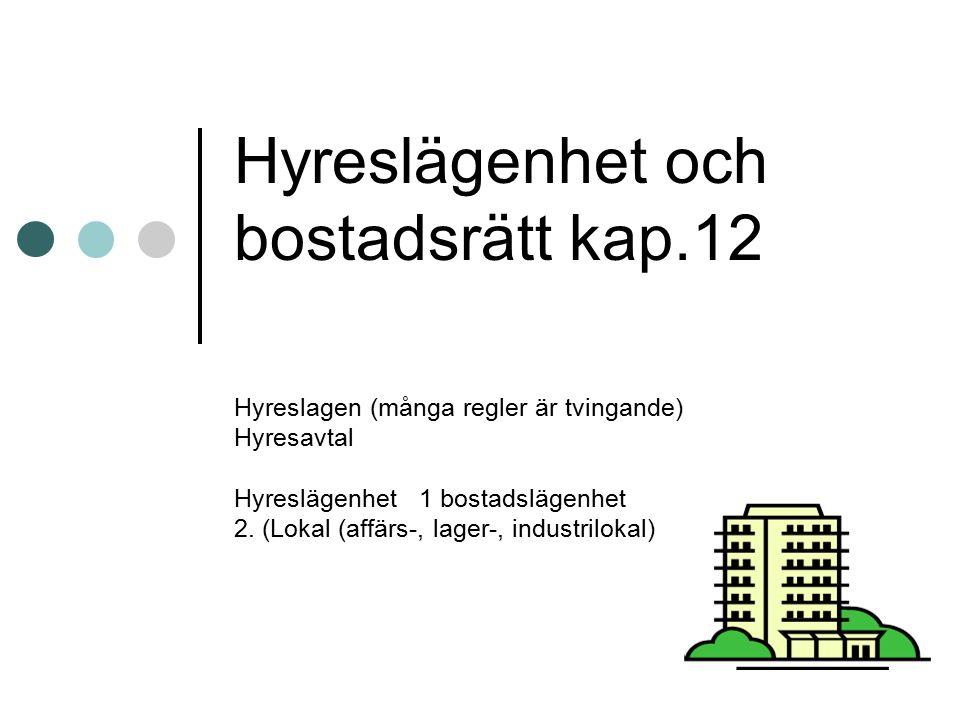 Hyreslägenhet och bostadsrätt kap.12