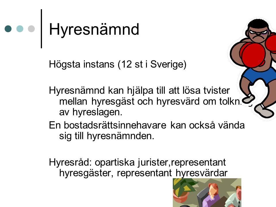Hyresnämnd Högsta instans (12 st i Sverige)