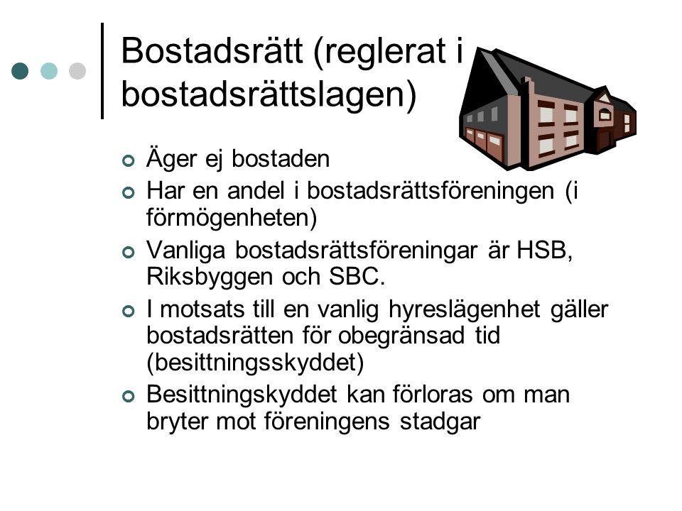 Bostadsrätt (reglerat i bostadsrättslagen)