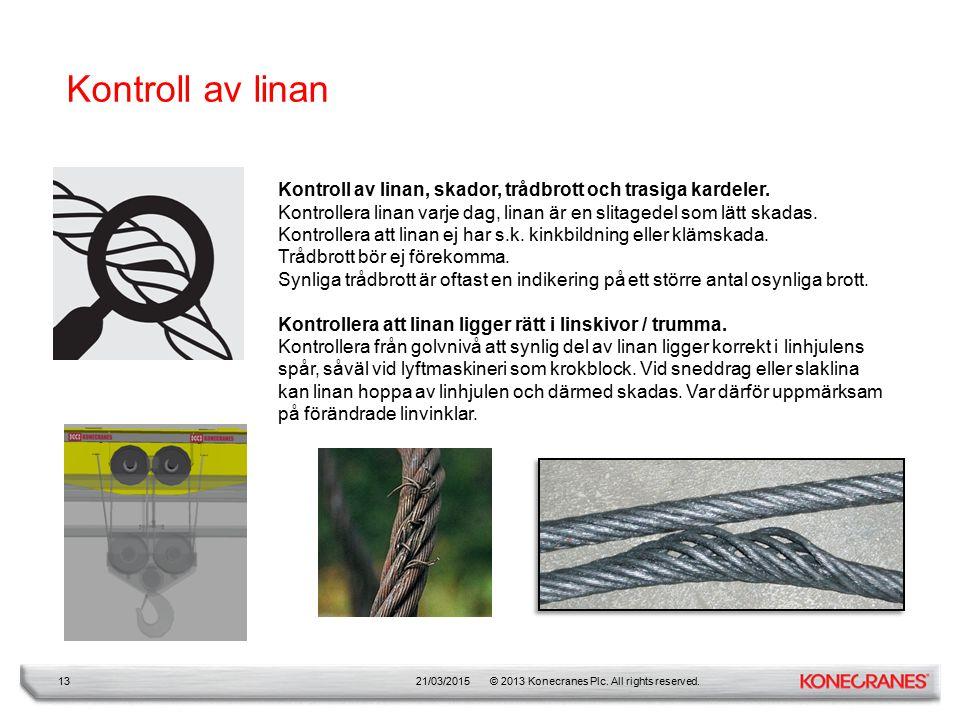 Kontroll av linan Kontroll av linan, skador, trådbrott och trasiga kardeler. Kontrollera linan varje dag, linan är en slitagedel som lätt skadas.
