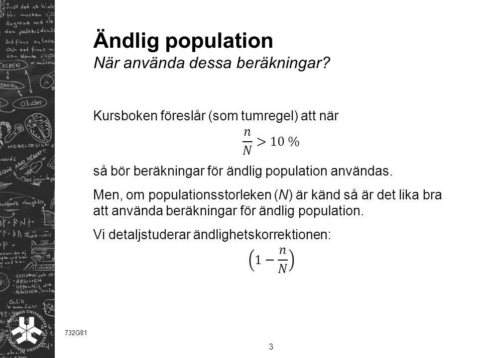 Ändlig population När använda dessa beräkningar