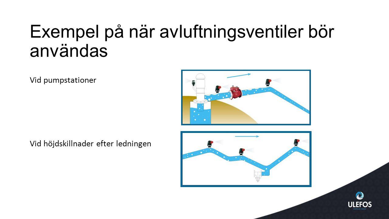 Exempel på när avluftningsventiler bör användas