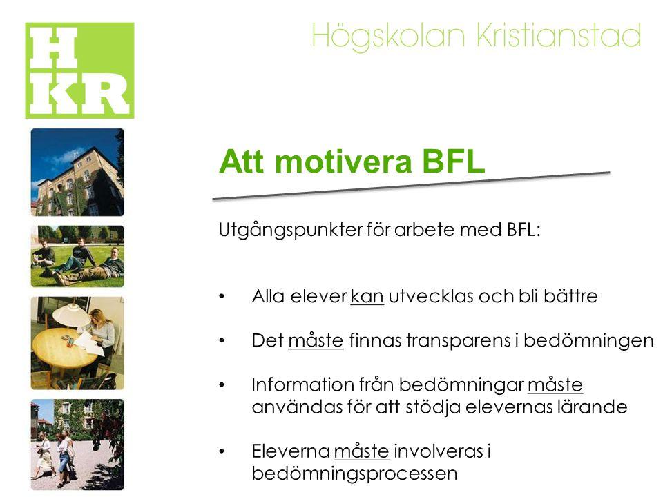 Att motivera BFL Utgångspunkter för arbete med BFL: