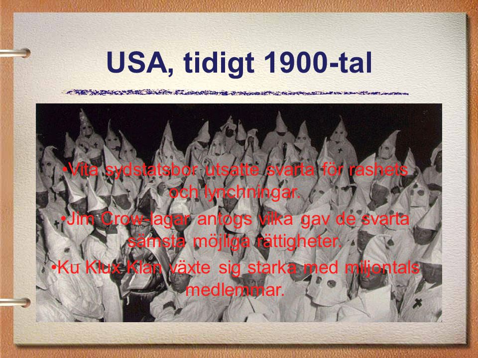 USA, tidigt 1900-tal Vita sydstatsbor utsatte svarta för rashets och lynchningar.