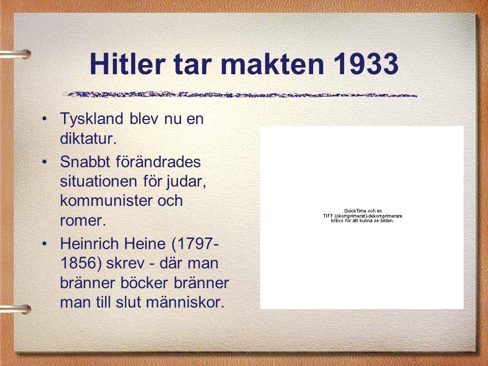Hitler tar makten 1933 Tyskland blev nu en diktatur.