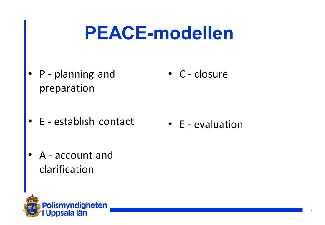 PEACE-modellen P - planning and preparation E - establish contact