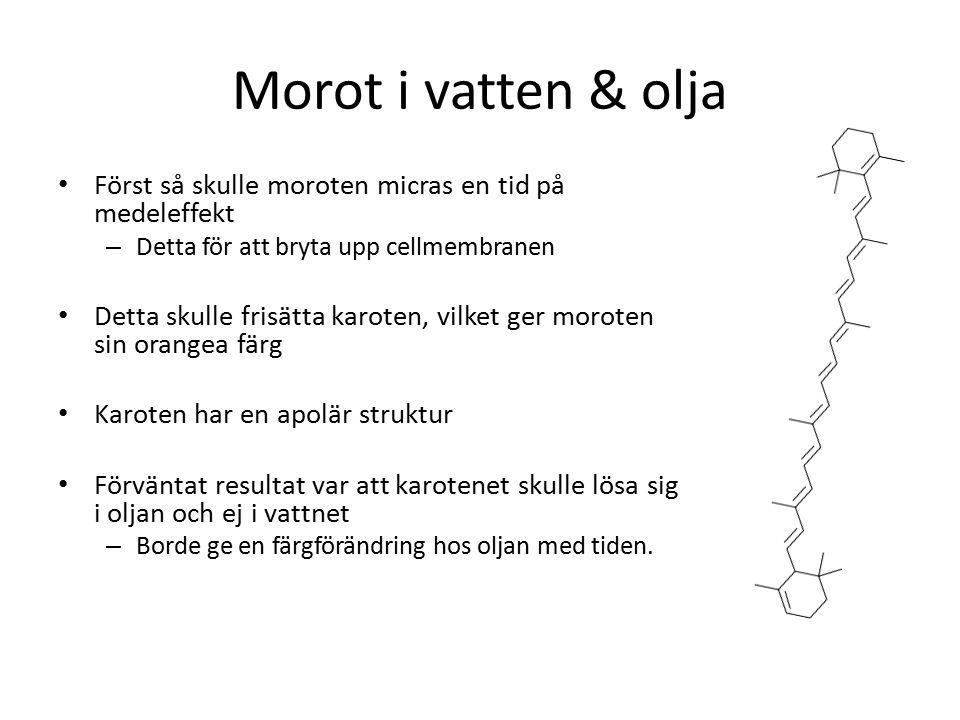 Morot i vatten & olja Först så skulle moroten micras en tid på medeleffekt. Detta för att bryta upp cellmembranen.