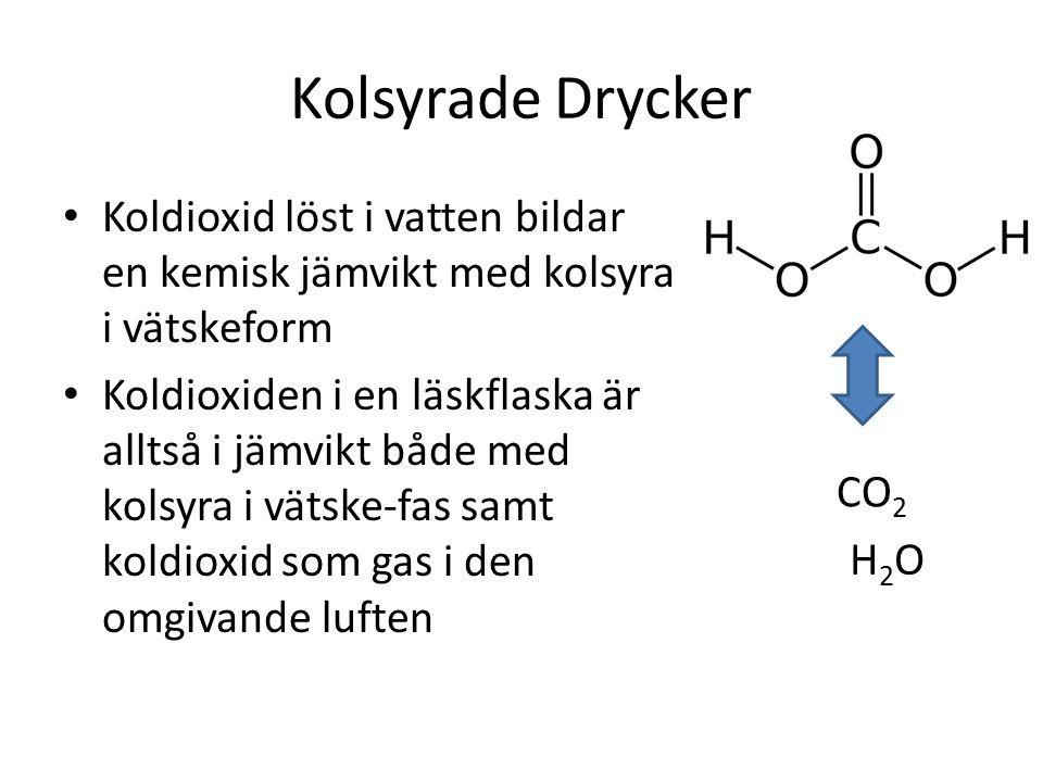 Kolsyrade Drycker Koldioxid löst i vatten bildar en kemisk jämvikt med kolsyra i vätskeform.