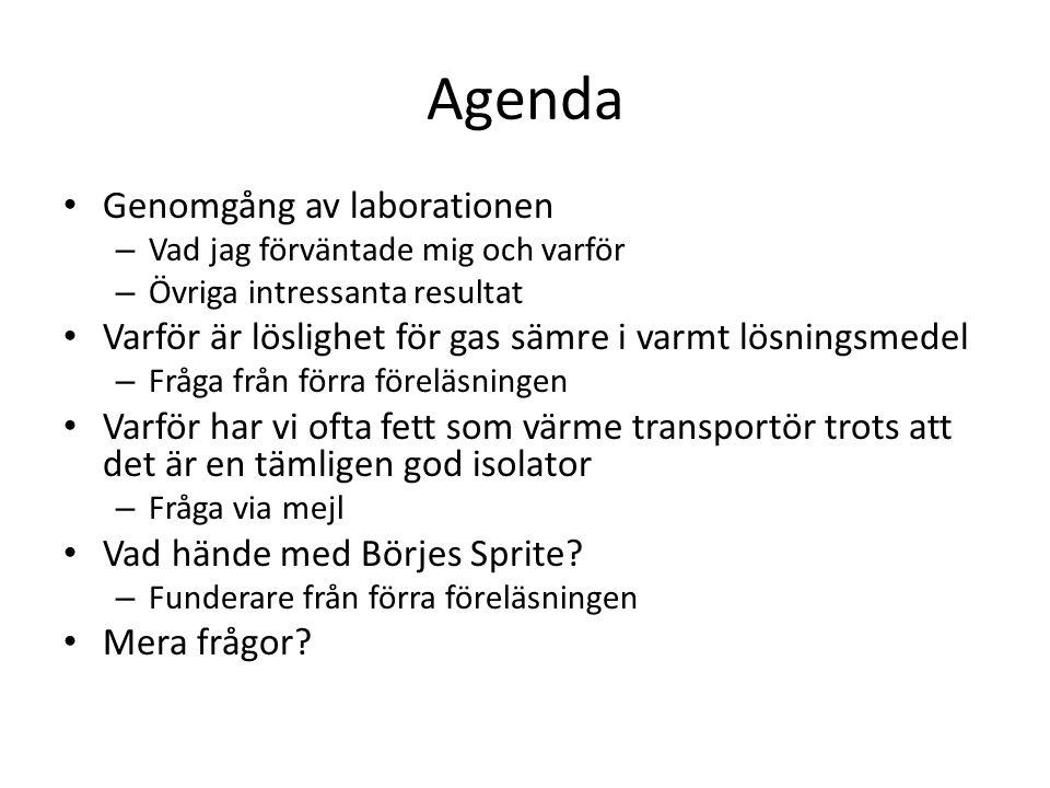 Agenda Genomgång av laborationen