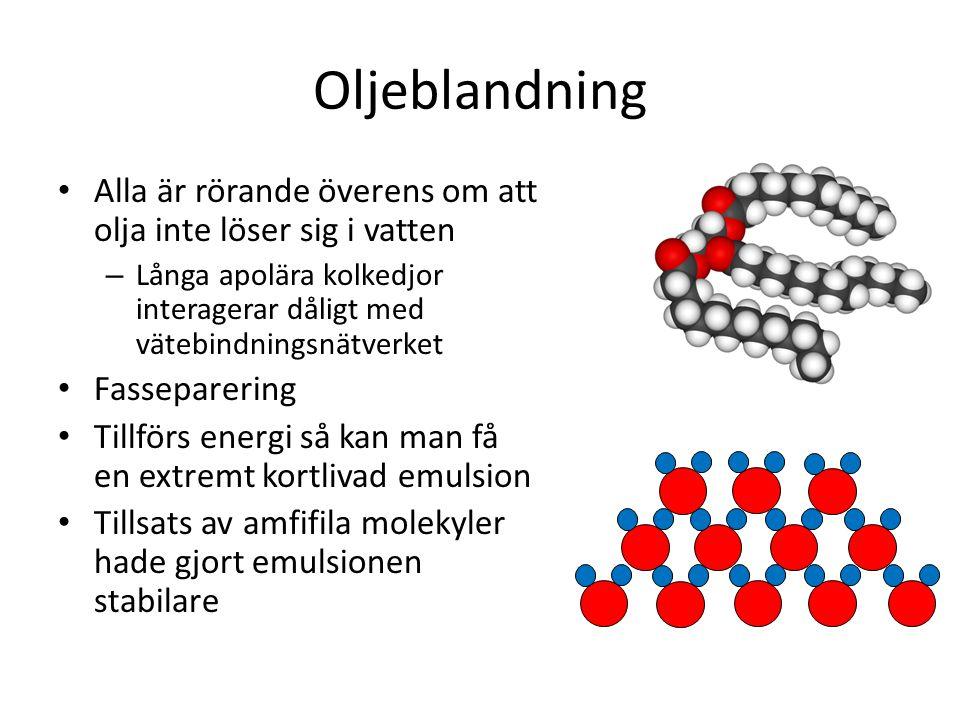 Oljeblandning Alla är rörande överens om att olja inte löser sig i vatten. Långa apolära kolkedjor interagerar dåligt med vätebindningsnätverket.