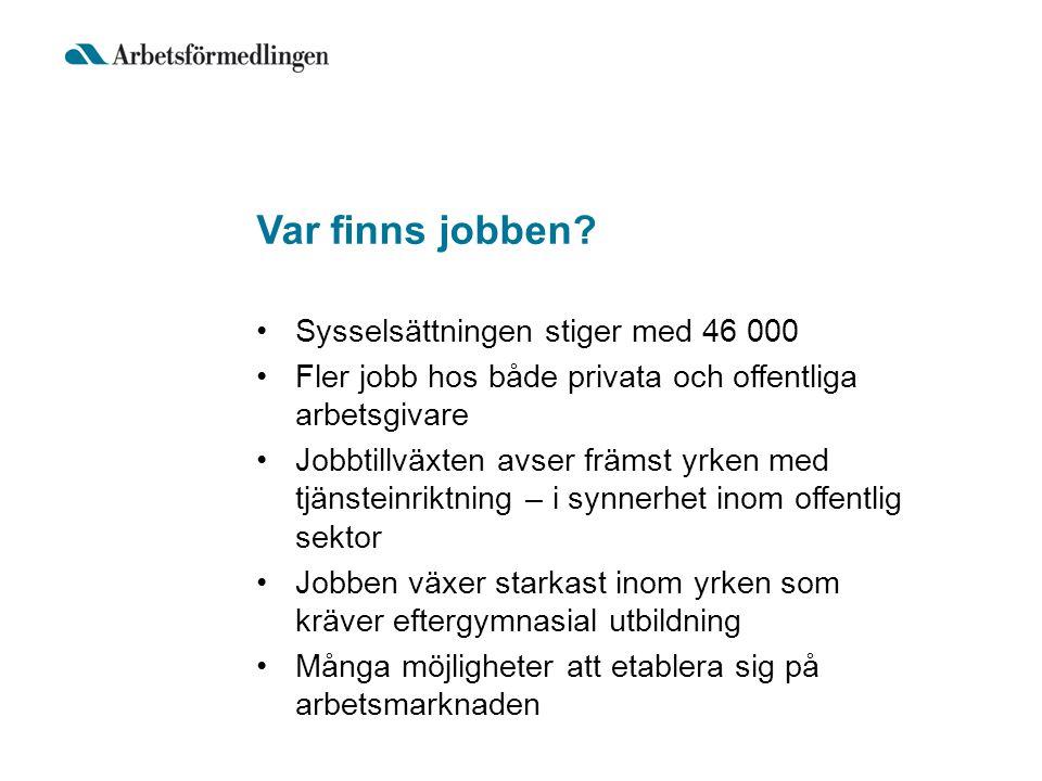 Var finns jobben Sysselsättningen stiger med 46 000