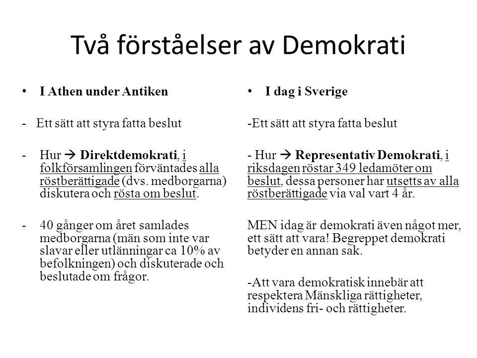Två förståelser av Demokrati