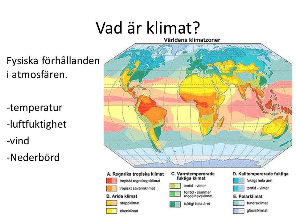 Vad är klimat Fysiska förhållanden i atmosfären. -temperatur -luftfuktighet -vind -Nederbörd