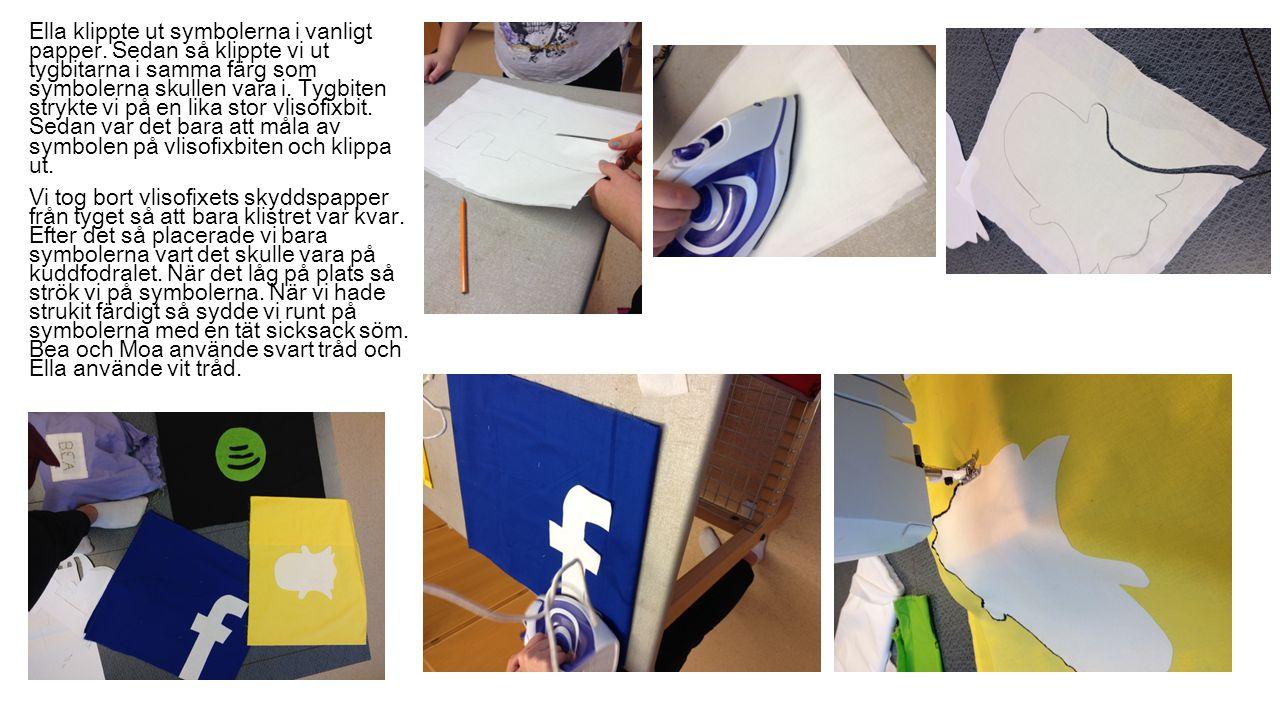 Ella klippte ut symbolerna i vanligt papper