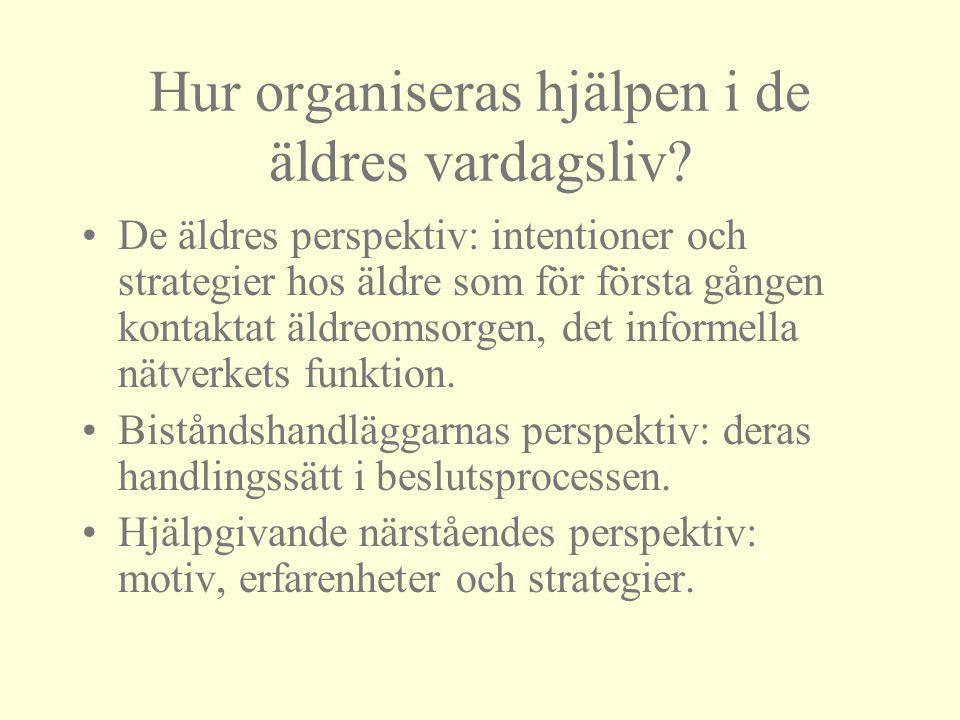 Hur organiseras hjälpen i de äldres vardagsliv