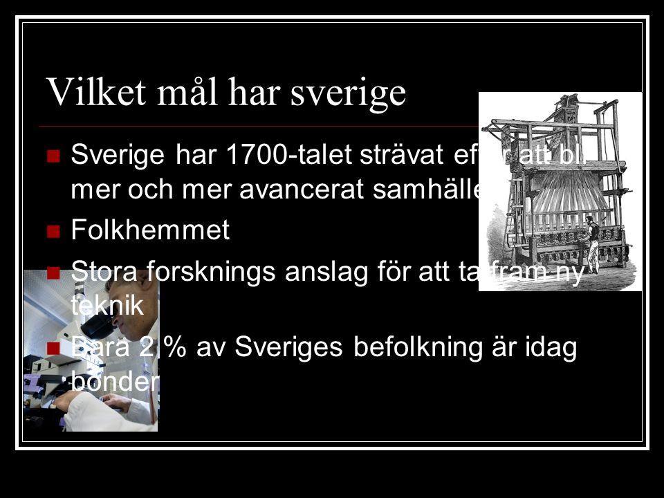 Vilket mål har sverige Sverige har 1700-talet strävat efter att bli mer och mer avancerat samhälle.