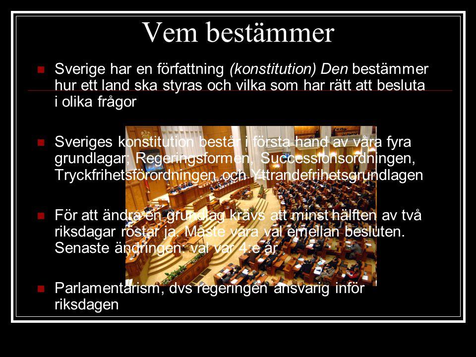Vem bestämmer Sverige har en författning (konstitution) Den bestämmer hur ett land ska styras och vilka som har rätt att besluta i olika frågor.