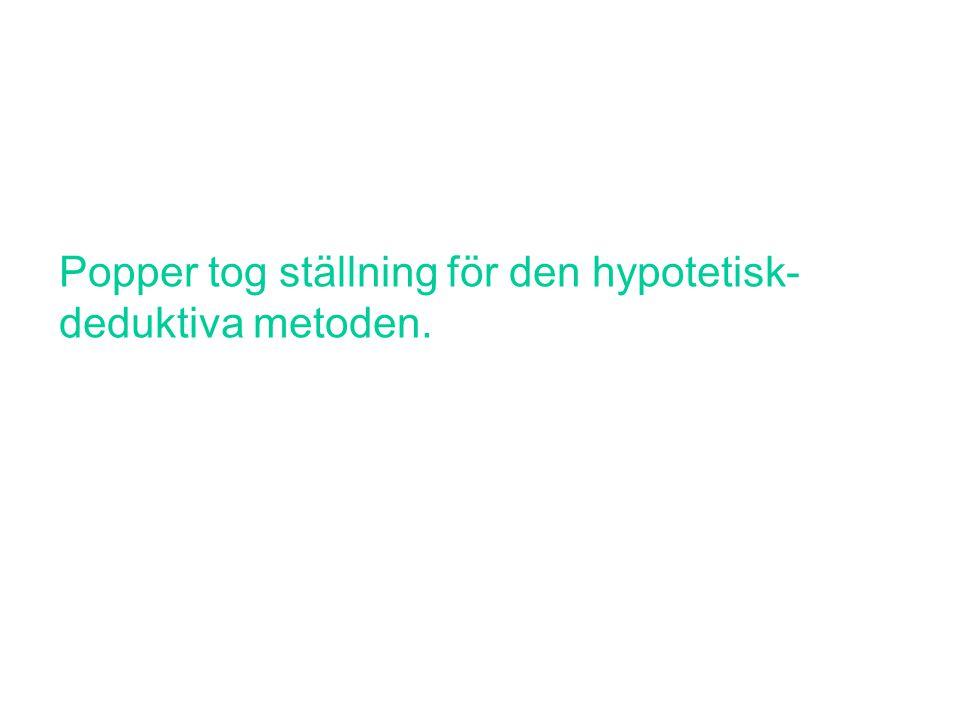 Popper tog ställning för den hypotetisk-deduktiva metoden.