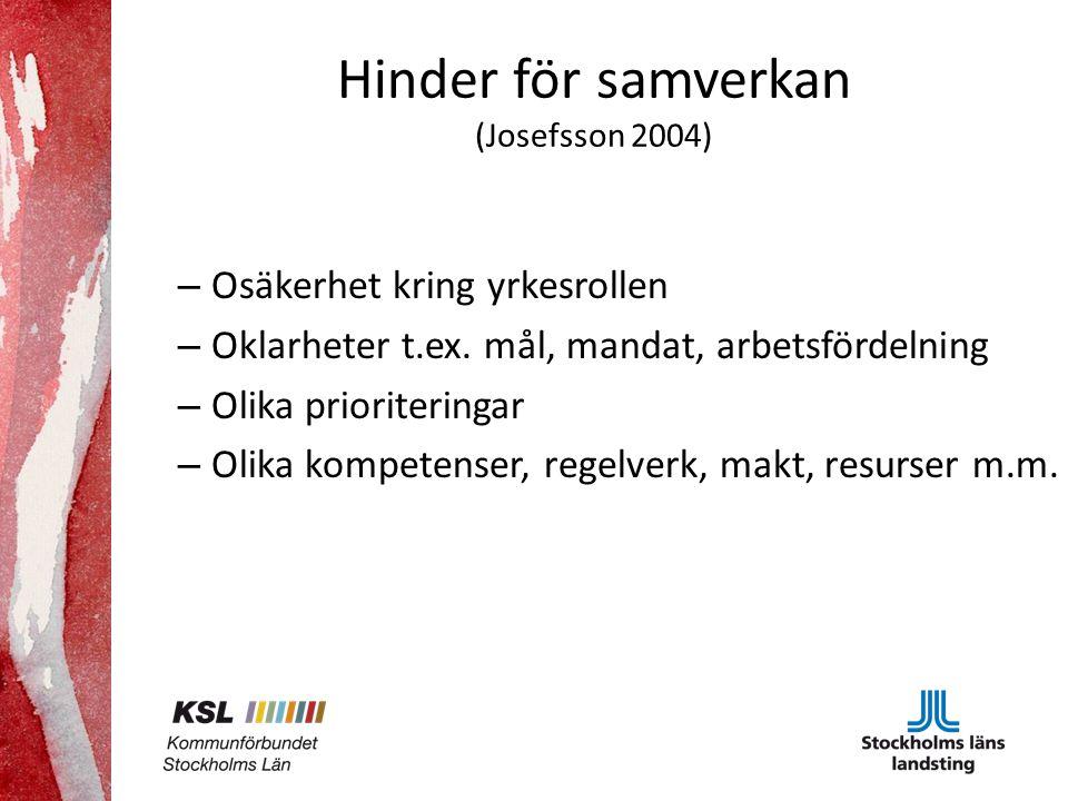 Hinder för samverkan (Josefsson 2004)