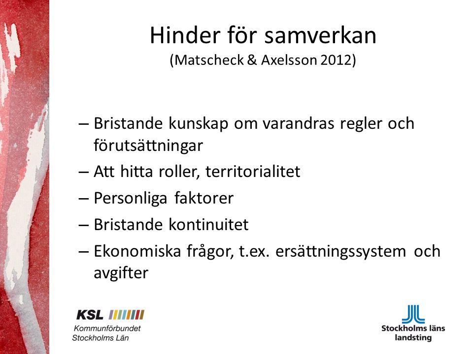 Hinder för samverkan (Matscheck & Axelsson 2012)