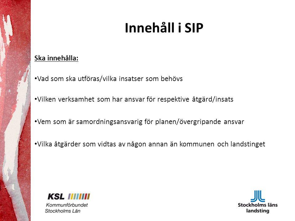 Innehåll i SIP Ska innehålla: