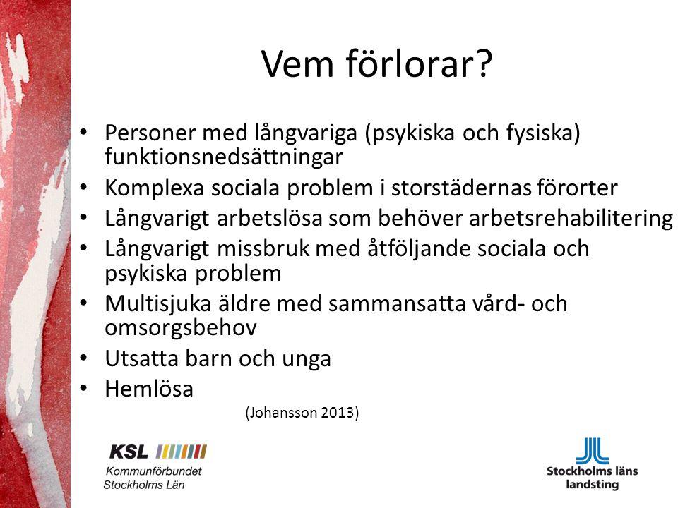 Vem förlorar Personer med långvariga (psykiska och fysiska) funktionsnedsättningar. Komplexa sociala problem i storstädernas förorter.