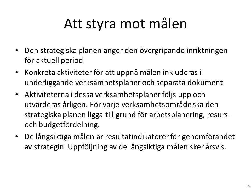 Att styra mot målen Den strategiska planen anger den övergripande inriktningen för aktuell period.