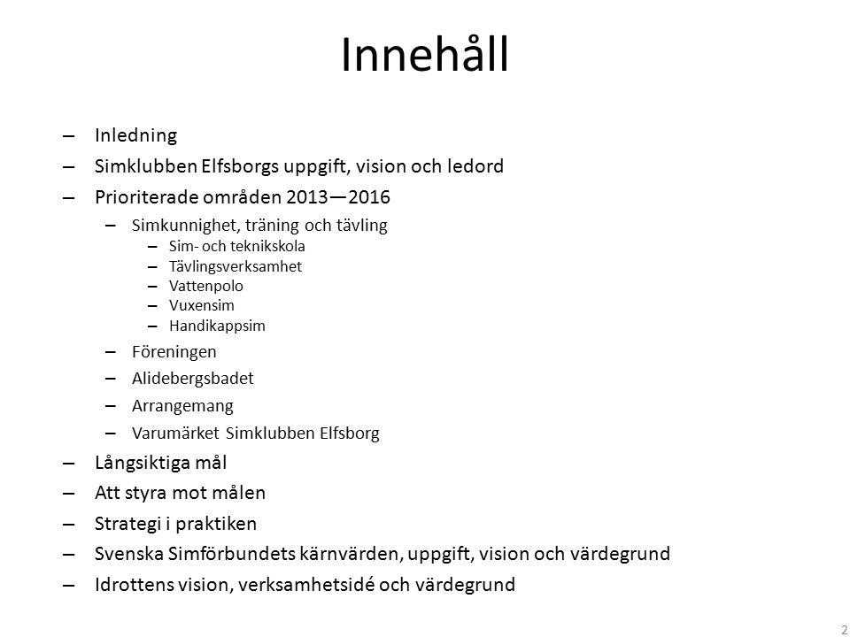 Innehåll Inledning Simklubben Elfsborgs uppgift, vision och ledord