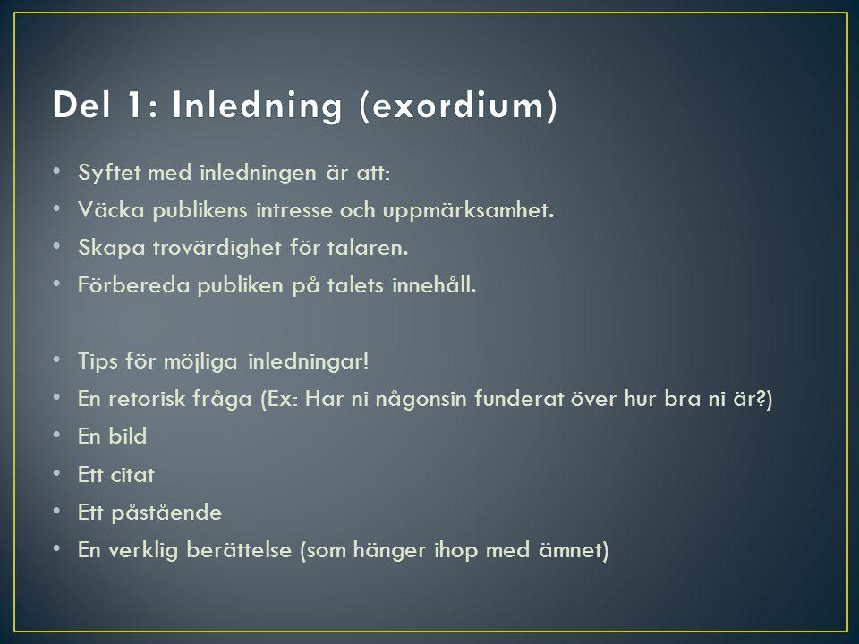 Del 1: Inledning (exordium)