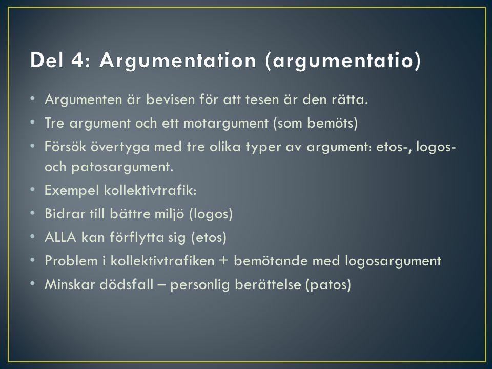 Del 4: Argumentation (argumentatio)