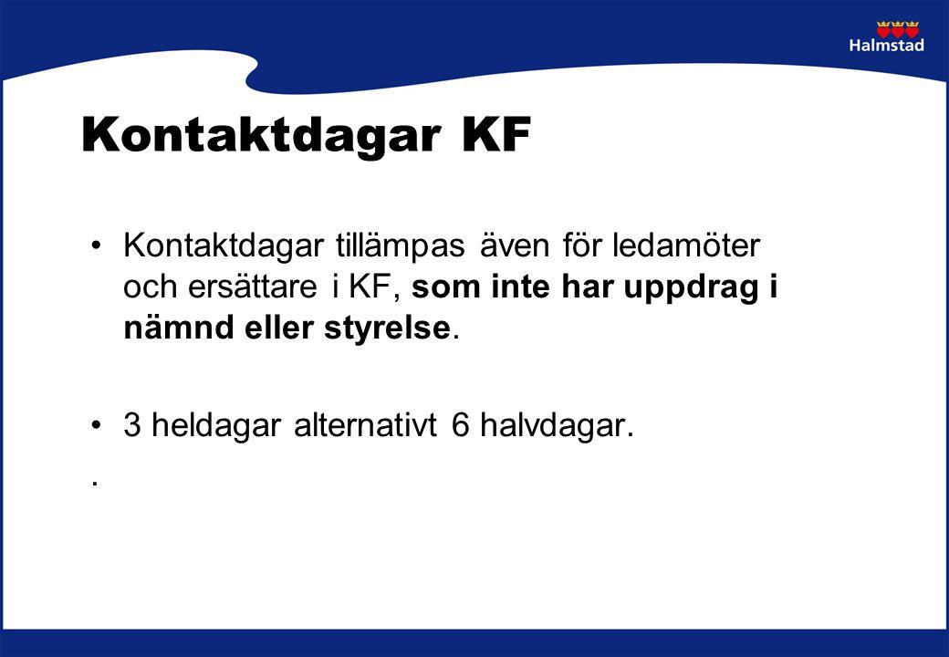 Kontaktdagar KF Kontaktdagar tillämpas även för ledamöter och ersättare i KF, som inte har uppdrag i nämnd eller styrelse.