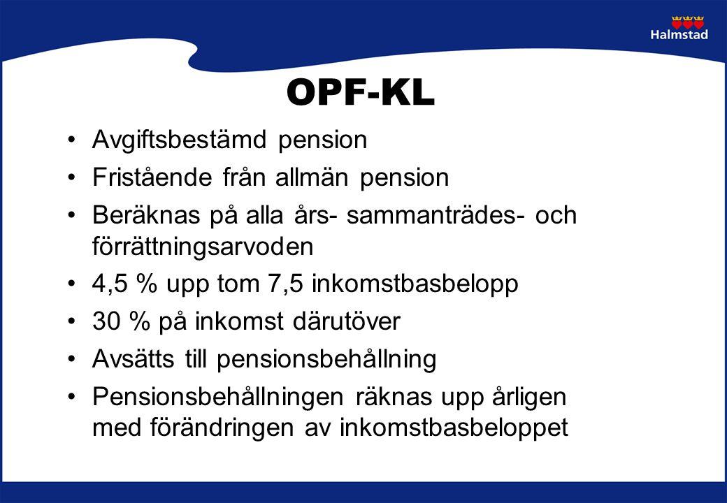 OPF-KL Avgiftsbestämd pension Fristående från allmän pension