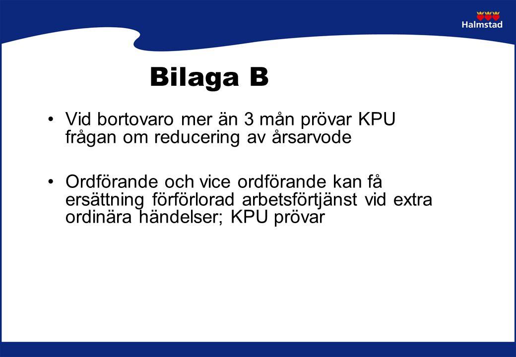 Bilaga B Vid bortovaro mer än 3 mån prövar KPU frågan om reducering av årsarvode.
