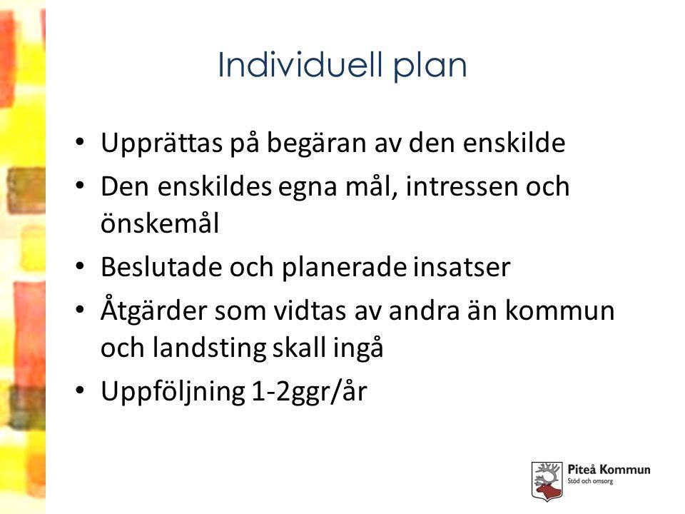 Individuell plan Upprättas på begäran av den enskilde