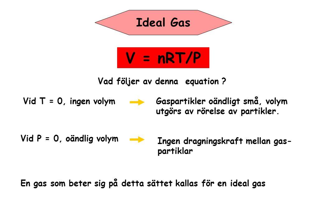V = nRT/P Ideal Gas Vad följer av denna equation