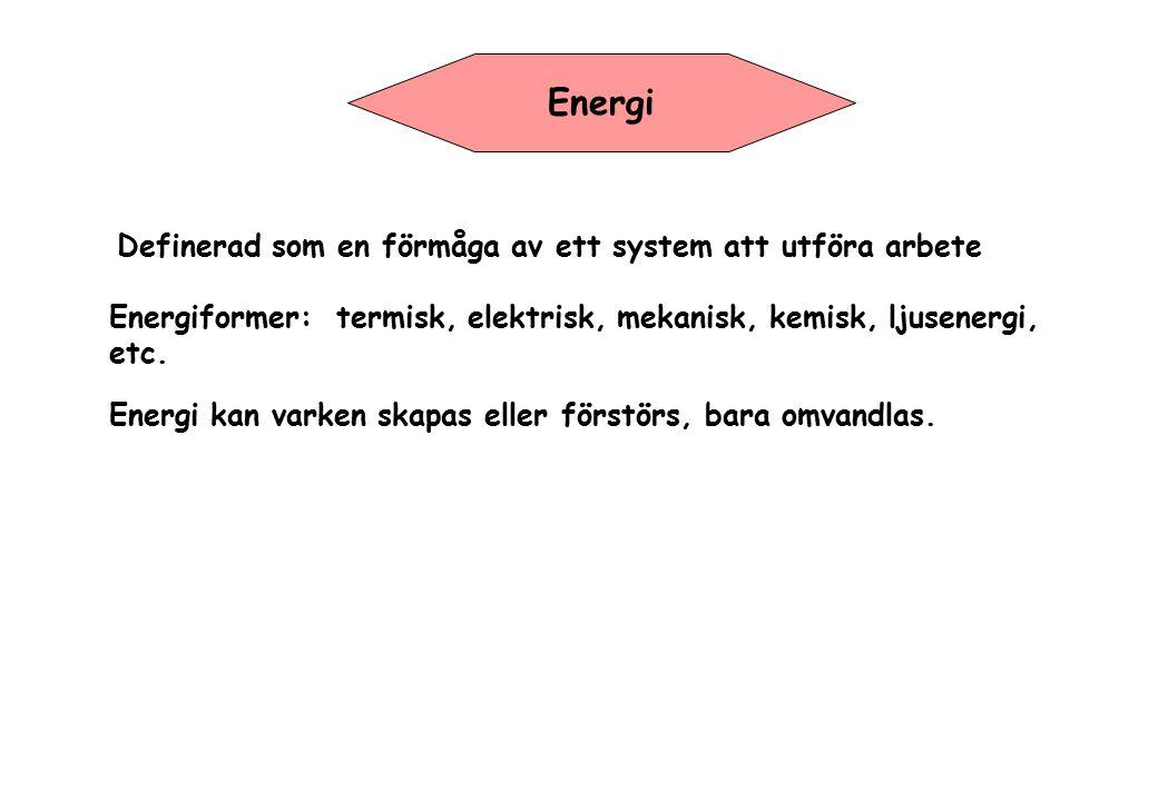 Energi Definerad som en förmåga av ett system att utföra arbete