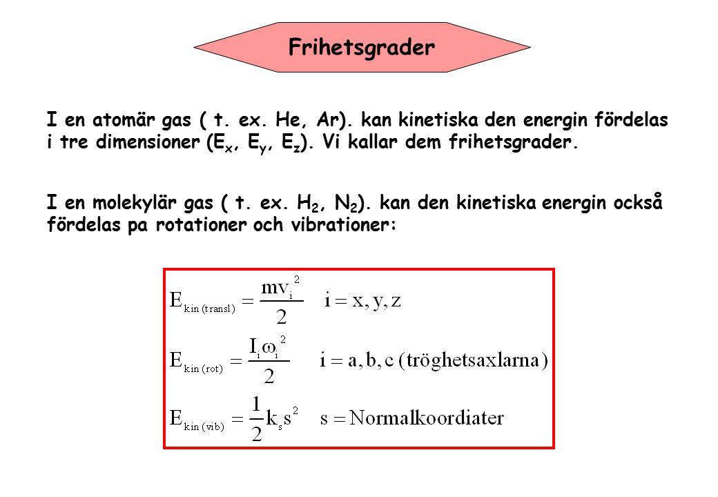 Frihetsgrader I en atomär gas ( t. ex. He, Ar). kan kinetiska den energin fördelas. i tre dimensioner (Ex, Ey, Ez). Vi kallar dem frihetsgrader.