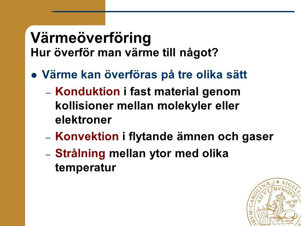 Värmeöverföring Hur överför man värme till något